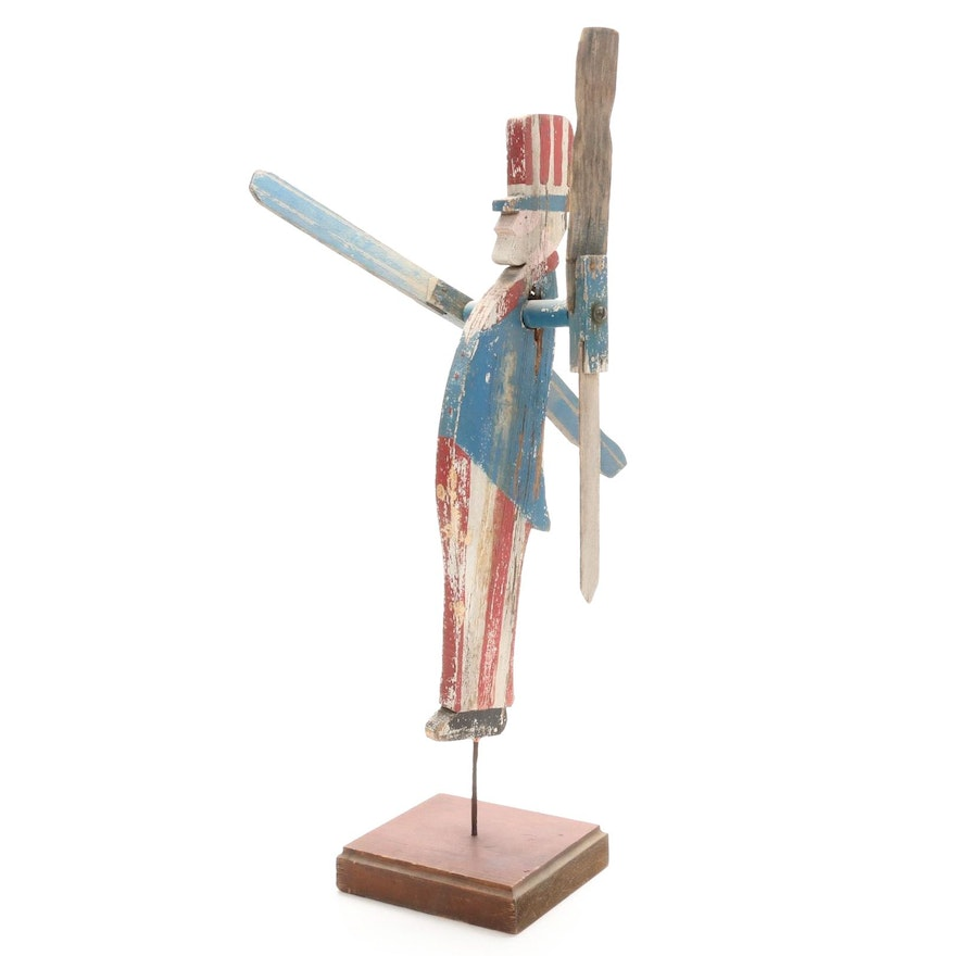 Wood Uncle Sam Whirligig, Mid to Late 20th Century