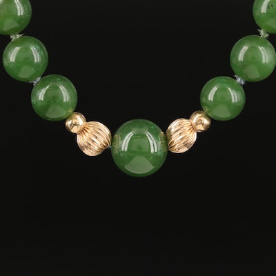 Endless 14K and Nephrite Beaded Necklace