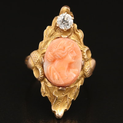Victorian 14K Diamond and Coral Cameo Ring with Foliate Detail