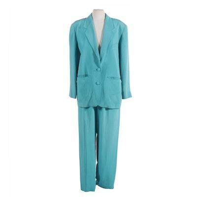 Henri Bendel New York Turquoise Silk Pant Suit