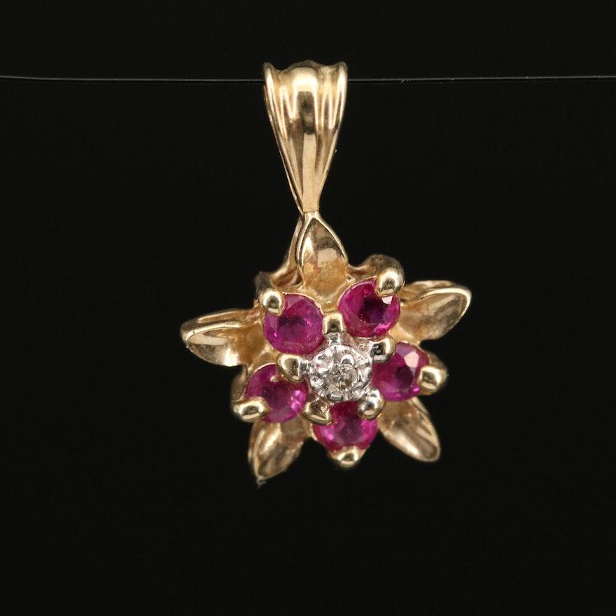 10K Ruby and Diamond Flower Pendant