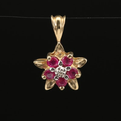 10K Ruby and Diamond Flower Pendant