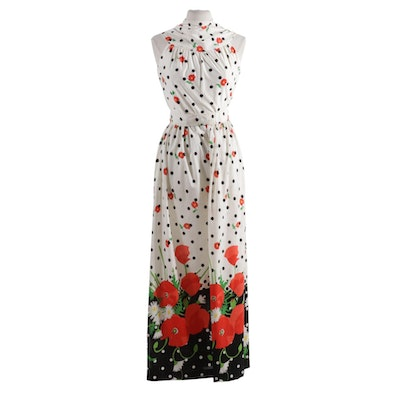 Silver Key for Neiman-Marcus Poppy, Daisy and Polka Dot Belted Jumpsuit