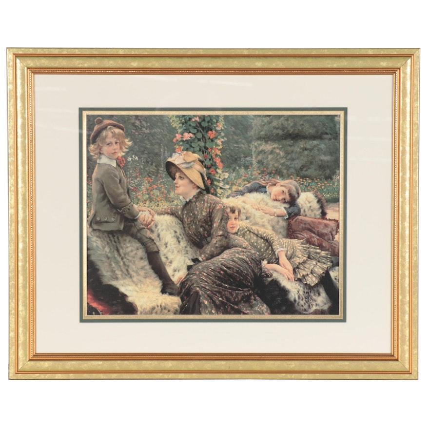 """Offset Lithograph after James Tissot """"The Garden Bench"""""""