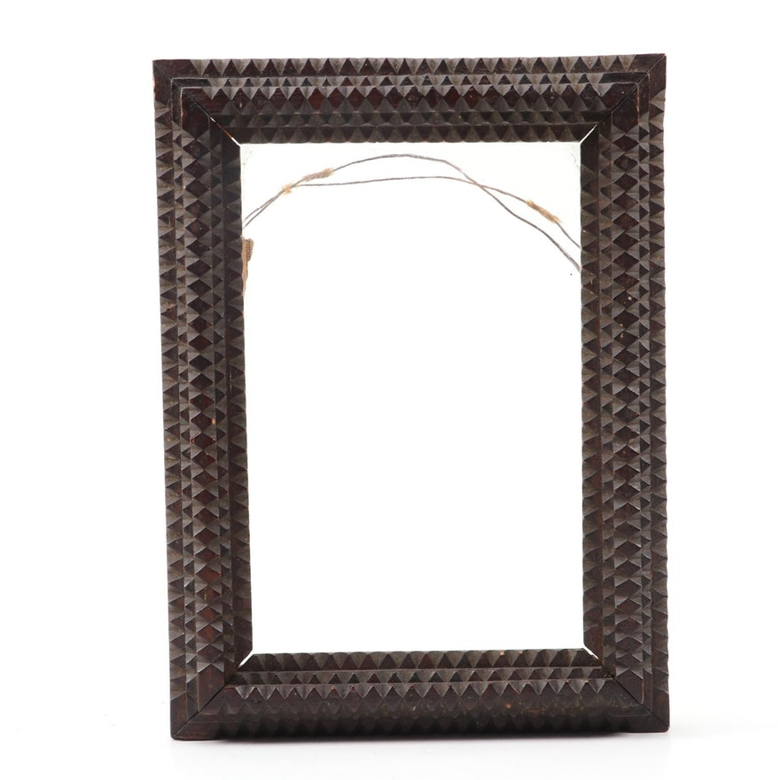 Tramp Art Notched Carved Wood Wall Frame