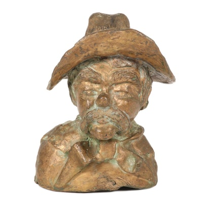 Barbara Sweney Bronze Bust Sculpture of Gaucho, Mid-Late 20th Century