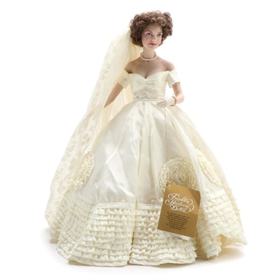 "Franklin Heirloom ""Jackie Kennedy Bride"" Porcelain Doll with Original Box"