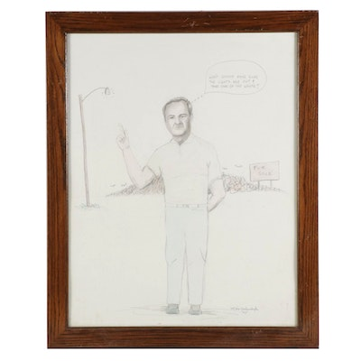 Mike Kochenderfer Graphite Drawing of President George H. W. Bush, 1992