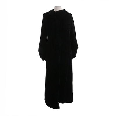 Black Velvet Full-Length Hooded Overcoat with Tapered Sleeves