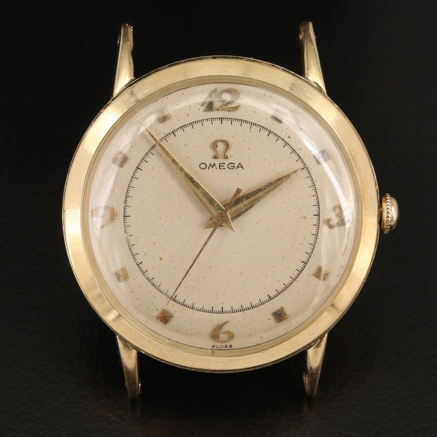 1950 Omega 14K Yellow Gold Stem Wind Wristwatch