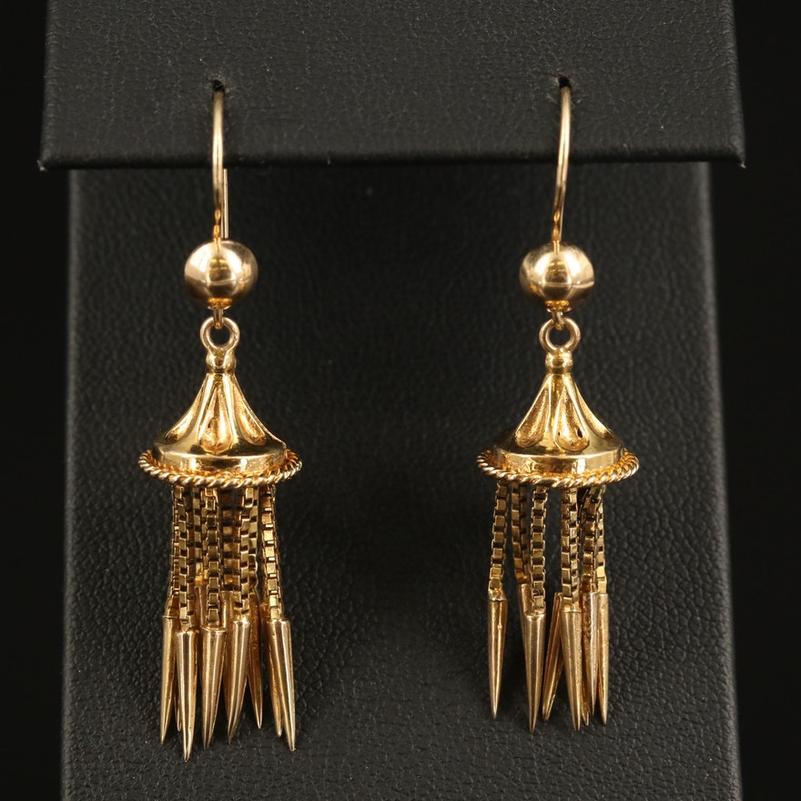 Vintage Egyptian Revival 10K Tassel Earrings