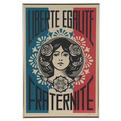 """Shepard Fairey Offset Print """"Liberté Egalité Fraternité"""""""