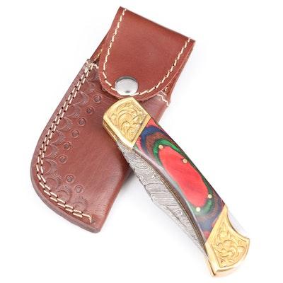 Damascus Steel Folding Knife with Leather Belt Sheath