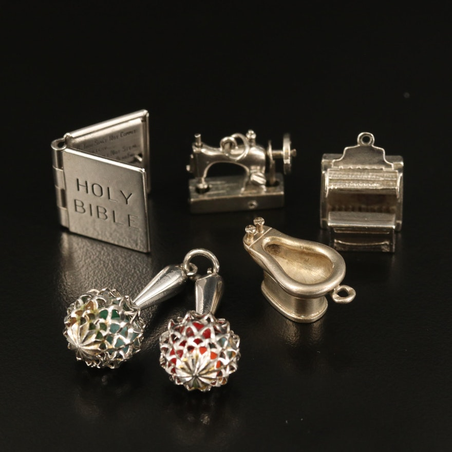 Topical Charms Including Sterling Sewing Machine and 800 Silver Bidet