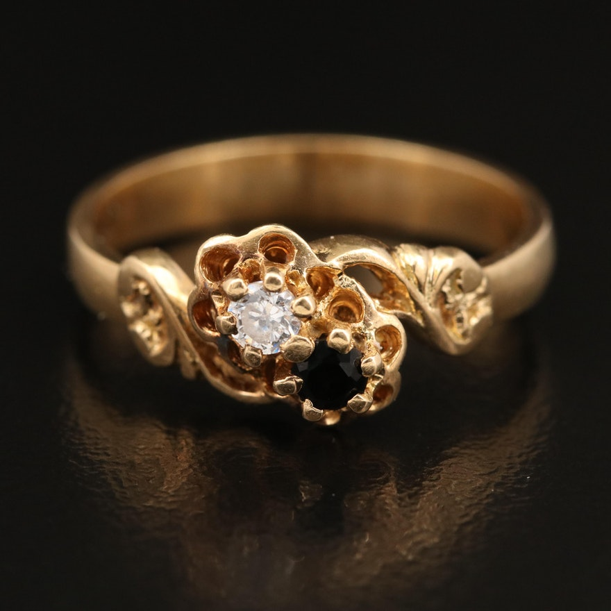 Victorian 14K Buttercup Moi-et-Toi Ring with Cubic Zirconia