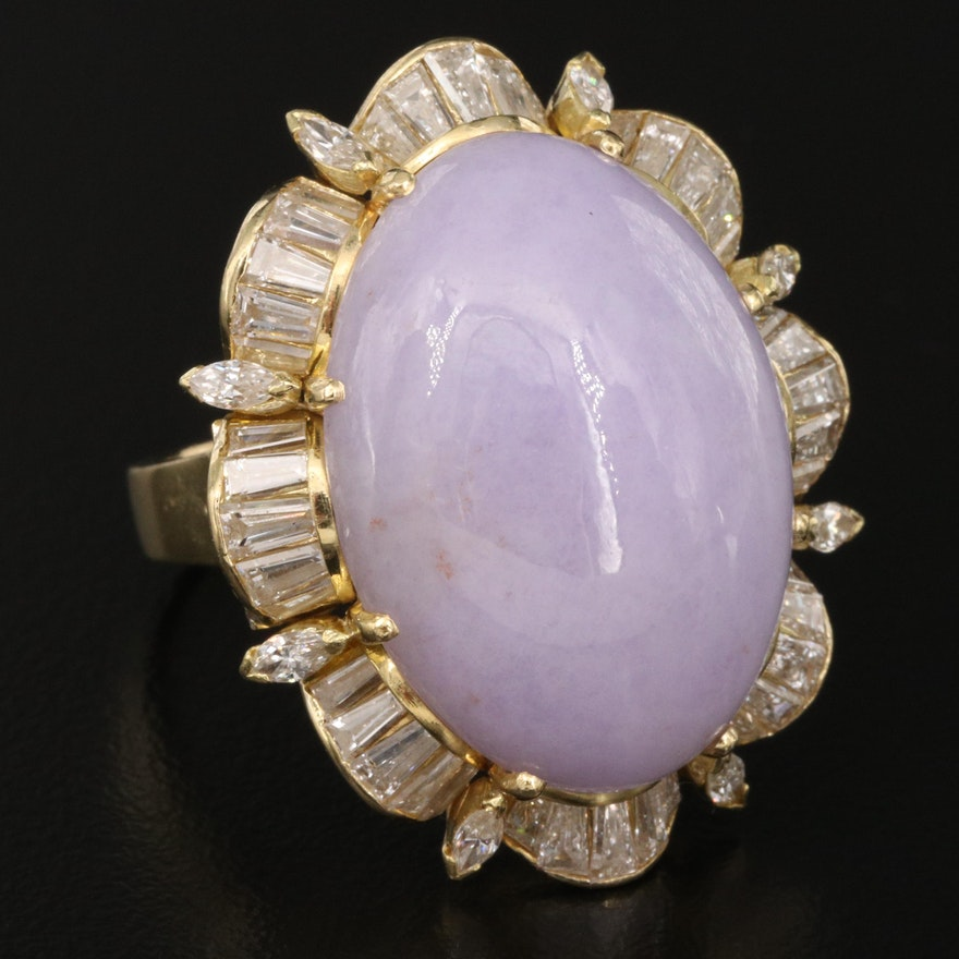 18K Jadeite and 3.06 CTW Diamond Statement Ring