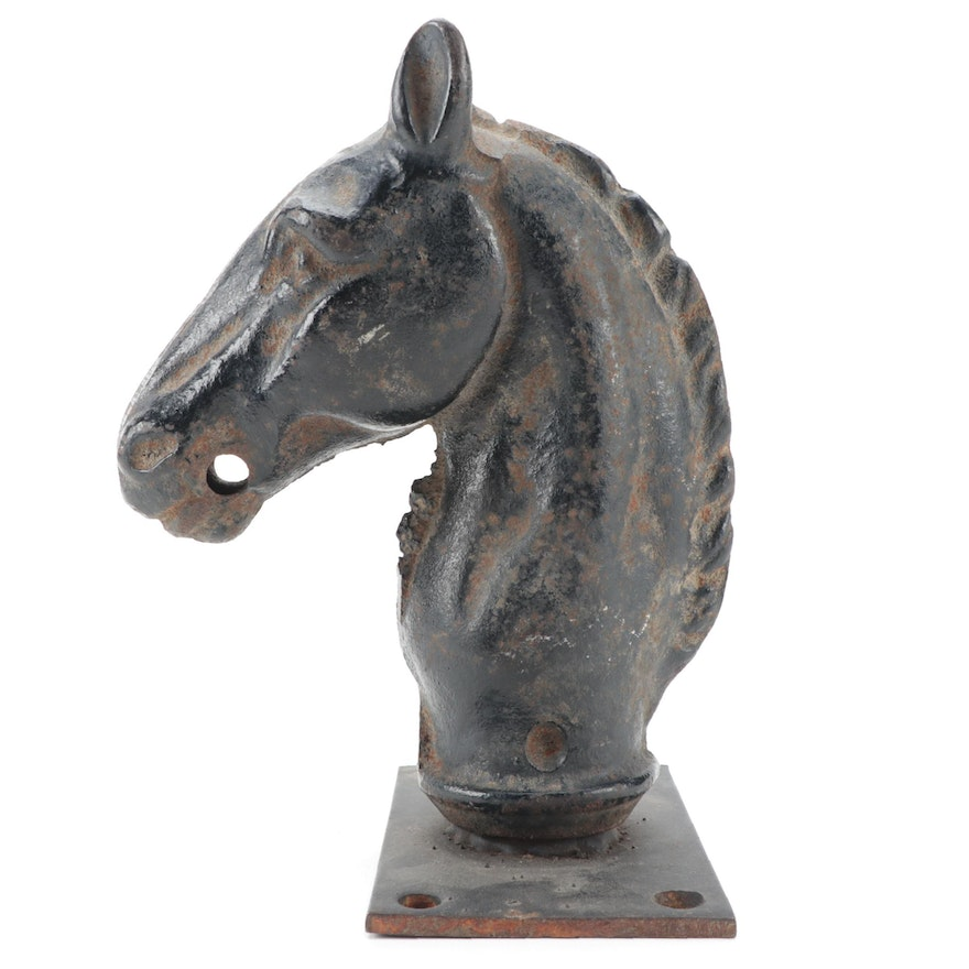 Cast Iron Horse Hitching Post and Mounting Plate, Late 19th/Early 20th C.