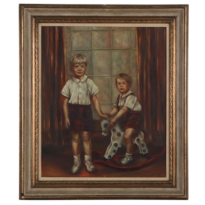 Portrait Oil Painting of Children, Mid-20th Century