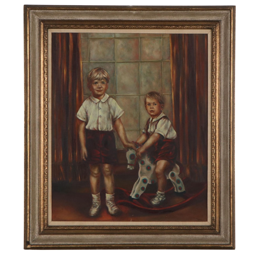 Portrait Oil Painting of Children, Mid-20th Century