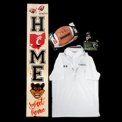 """Luke Fickell Signed Football, """"Home Sweet Home"""" Bearcats Sign, Shirt, and More"""