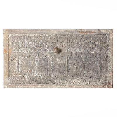 Art Nouveau Cast Iron Fireplace Cover with Relief Design, Antique