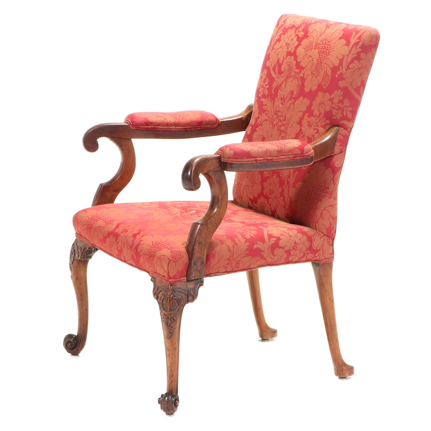 George IV Carved Mahogany Arm Chair, Mid-19th Century