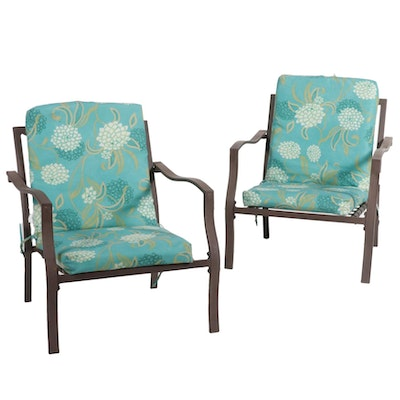 Pair of Metal Frame Patio Armchairs, 21st Century