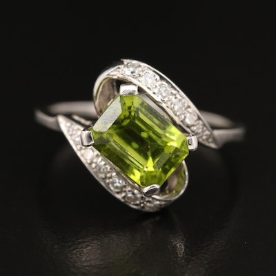 14K Peridot and Diamond Bypass Style Ring
