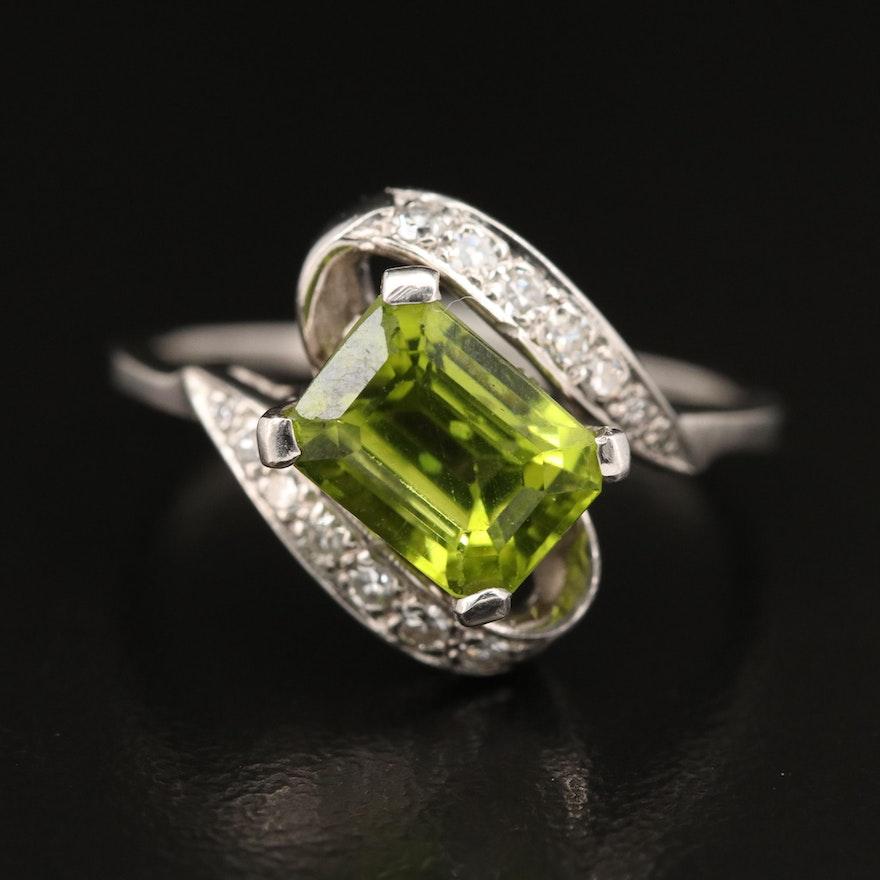 14K Peridot and Diamond Bypass Style Ring