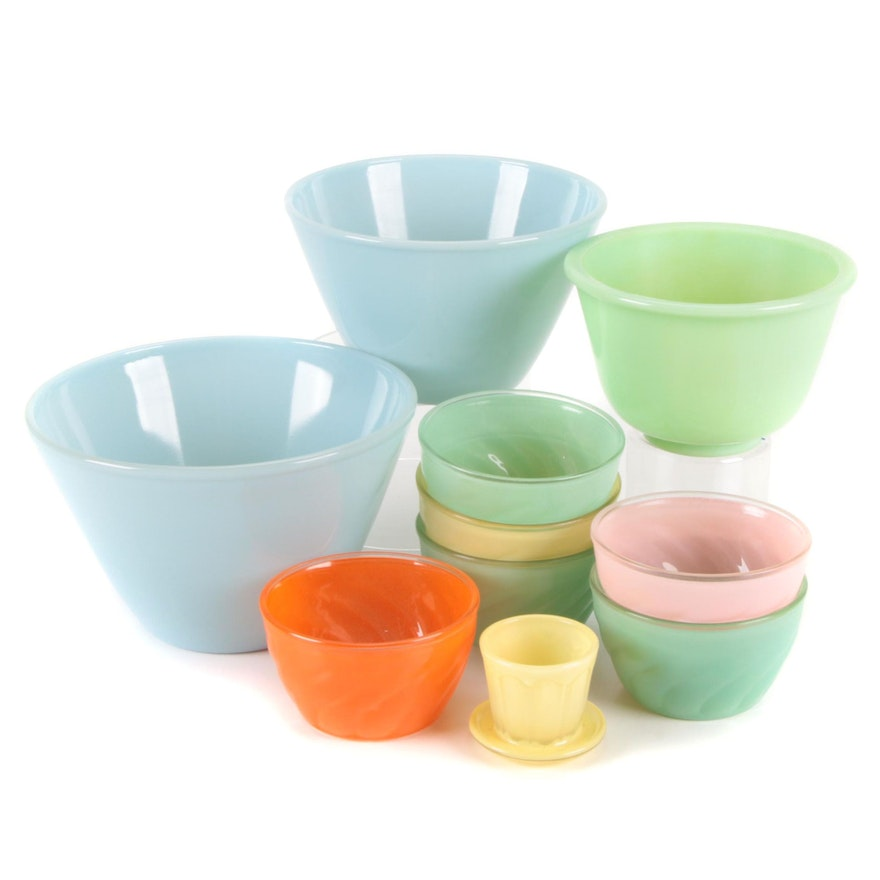 Fire-King Turquoise and Glasbake Glass Bowls with Sue Bee Honey Whip Pots