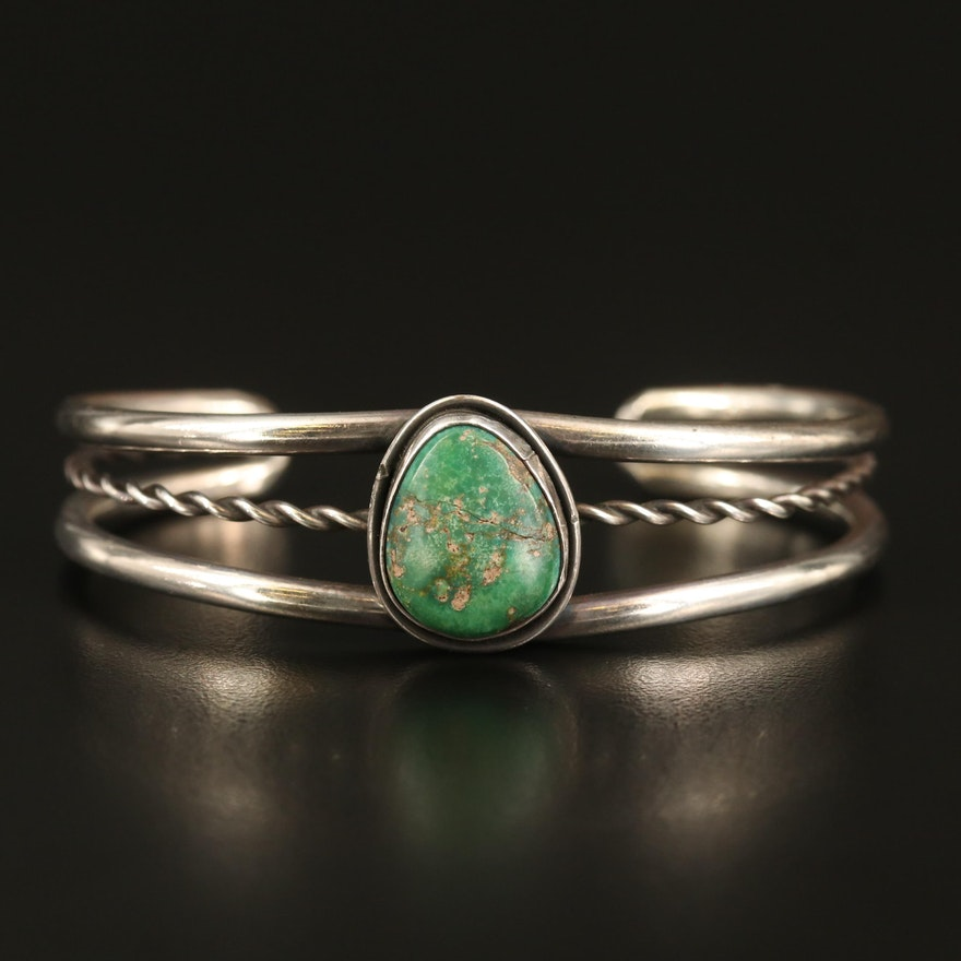 Sterling Turquoise Openwork Cuff
