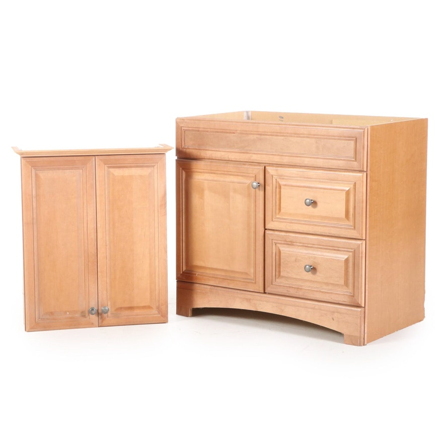 Contemporary Wood Vanity Base with Wall Mount Cabinet