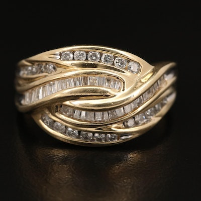 14K 1.02 CTW Channel Set Diamond Crossover Style Ring