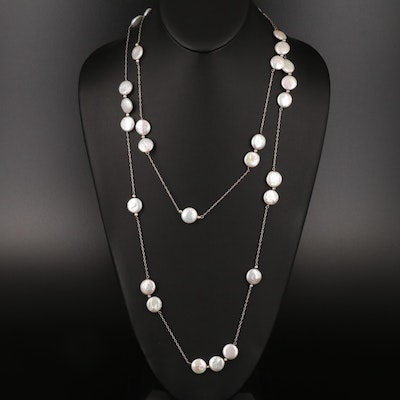 Sterling Coin Pearl Endless Station Necklace