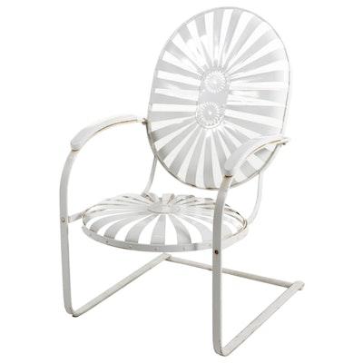 Francois Carre Metal Strap Sunburst Patio Rocking Chair, Vintage