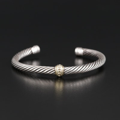 David Yurman Sterling and 14K Cable Cuff