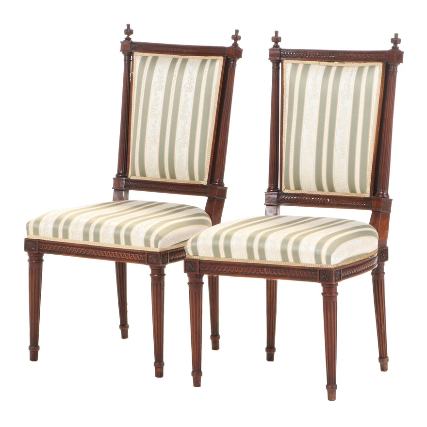 Pair of Louis XVI Style Mahogany Side Chairs, Late 19th/Early 20th Century