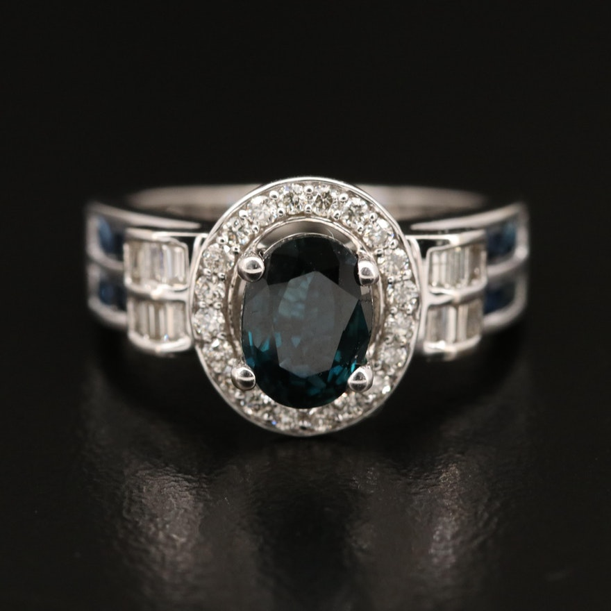 14K Sapphire and Diamond Ring with Scroll Shoulders