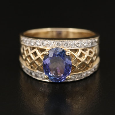 14K 2.30 CT Tanzanite and Diamond Openwork Ring