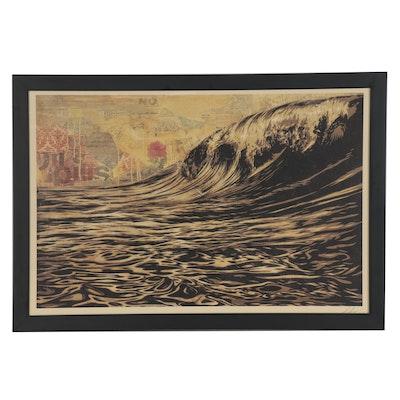 """Shepard Fairey Offset Print """"Dark Wave,"""" 2021"""
