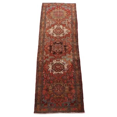 3'2 x 10'8 Hand-Knotted Persian Heriz Wool Carpet Runner