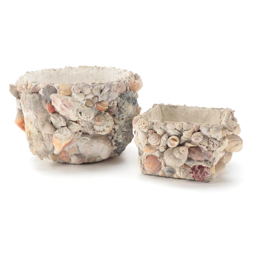 Seashell Encrusted Plaster Planters