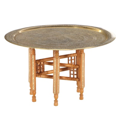 Moroccan Style Engraved Brass Tray Top Coffee Table, Late 20th Century