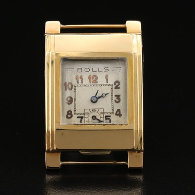 1930s Blancpain Rolls by Léon Hatot 18K Yellow Gold Automatic Wristwatch