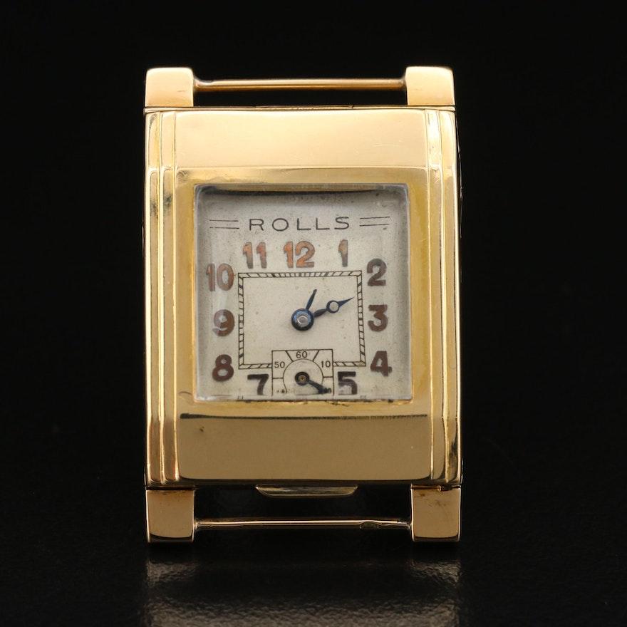 1930s Blancpain Rolls by Léon Hatot 18K Yellow Gold Automatic Wristwatch