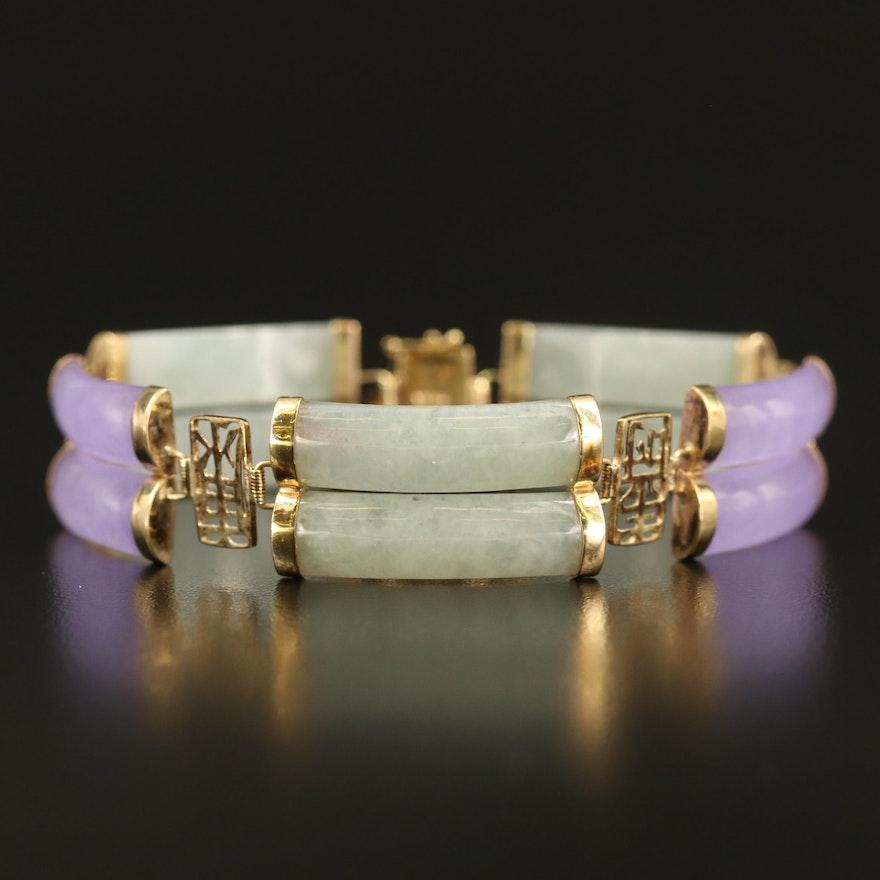 Chinese 14K Jadeite Double Row Bracelet