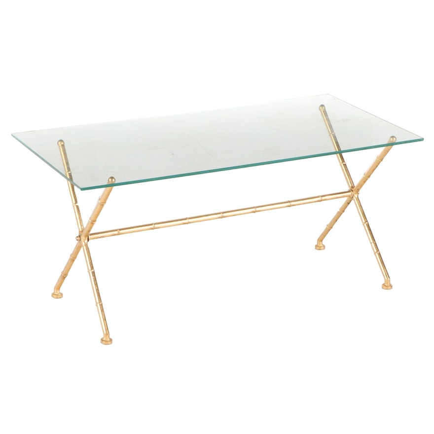 Hollywood Regency Style Gilt Metal and Glass Top Coffee Table