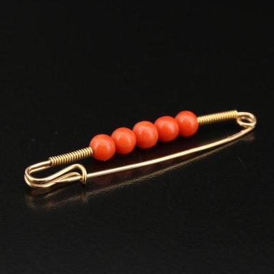 18K Coral Bead Pin