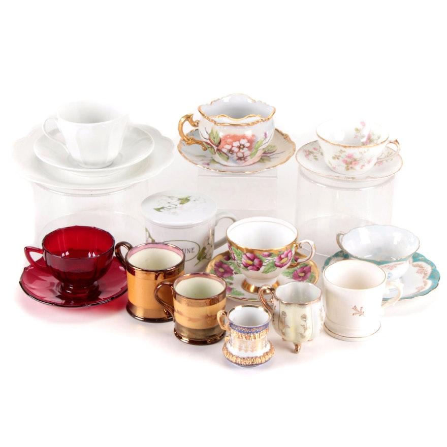 Bone China, Glass, Ceramic and Porcelain Teacups and Saucers