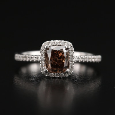 18K 1.17 CTW Diamond Halo Ring with GIA Report